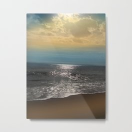 Golden Sky Over The Ocean Metal Print