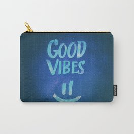 Good Vibes - Funny Smiley Statement / Happy Face (Blue Stars Edit) Carry-All Pouch