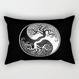 White and Black Tree of Life Yin Yang Rectangular Pillow