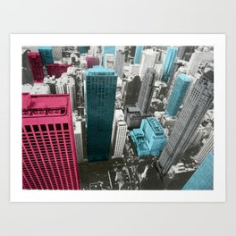 Chicago City-red Art Print