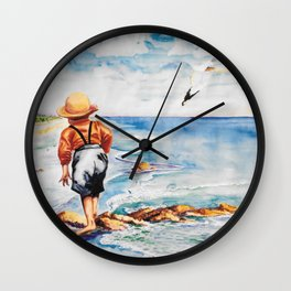 Watercolor Boy with Seagulls Wall Clock