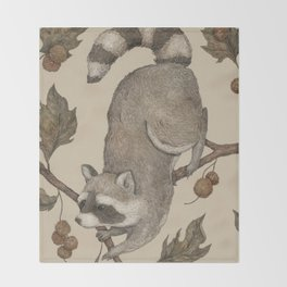 The Raccoon and Sycamore Throw Blanket