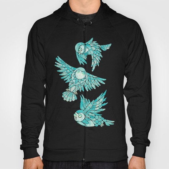 Owls in Flight – Turquoise Palette by catcoq