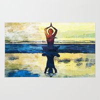 yoga Area & Throw Rugs featuring yoga by Chantale Roger