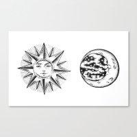 sun and moon Canvas Prints featuring Sun & Moon by Cady Bogart