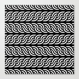 Black and white braided illusive circles Canvas Print