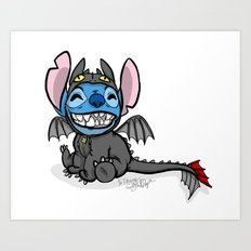 Toothless Stitch Art Print