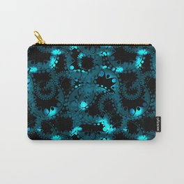 blue pattern of soap bubbles and gears in azure Carry-All Pouch