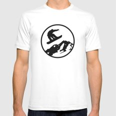 snowboarding 1 Mens Fitted Tee White MEDIUM