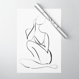 Female Figure Line Art Wrapping Paper