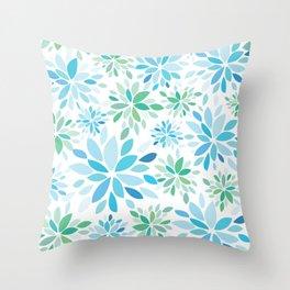Nature's Healing Mandala Blue Throw Pillow