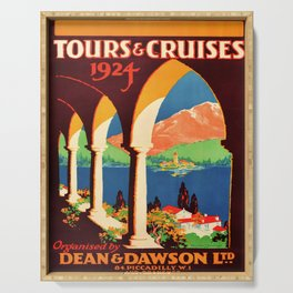 retro iconic Tours and Cruises poster Serving Tray