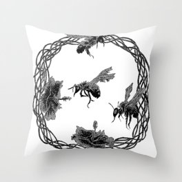 Hibiscus and Bees (frozen) 01 Throw Pillow