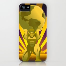 golden atlas holding the globe iPhone Case