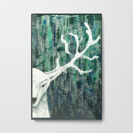 Christmas Stag handpainted Metal Print