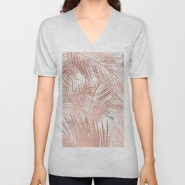 Tropical modern faux rose gold palm tree leaf white marble pattern Unisex V-Neck
