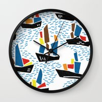 boats Wall Clocks featuring boats by frameless