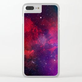 Purple & Red Watercolor Space Pattern Clear iPhone Case