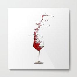 A Splash of Red Wine - Digital Oil Painting Metal Print