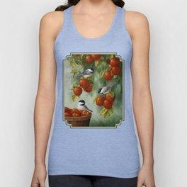 Chickadees and Apple Tree Harvest Unisex Tank Top