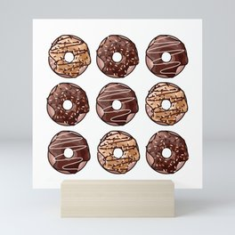 Chocolate Donuts Pattern Mini Art Print