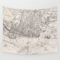 poland Wall Tapestries featuring Vintage Map of Warsaw Poland (1836) by BravuraMedia