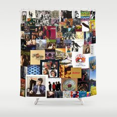 Classic Rock And Roll Albums Collage Shower Curtain