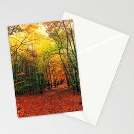 Serene Autumn Forest landscape Stationery Cards