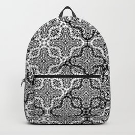 black and white Damascus ornament Backpack