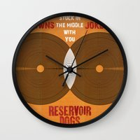 reservoir dogs Wall Clocks featuring Reservoir Dogs - Venn Diagram : Stuck in the Middle with you by Chubbybuddhist