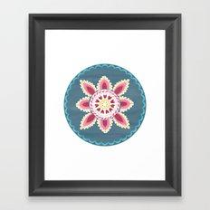 Suzani inspired floral blue 2 Framed Art Print