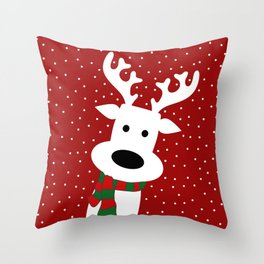 Reindeer in a snowy day (red) Throw Pillow