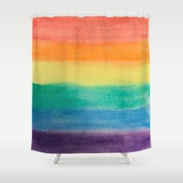 Large Hand Painted Watercolor Gay Pride Rainbow Equality and Freedom Flag Shower Curtain