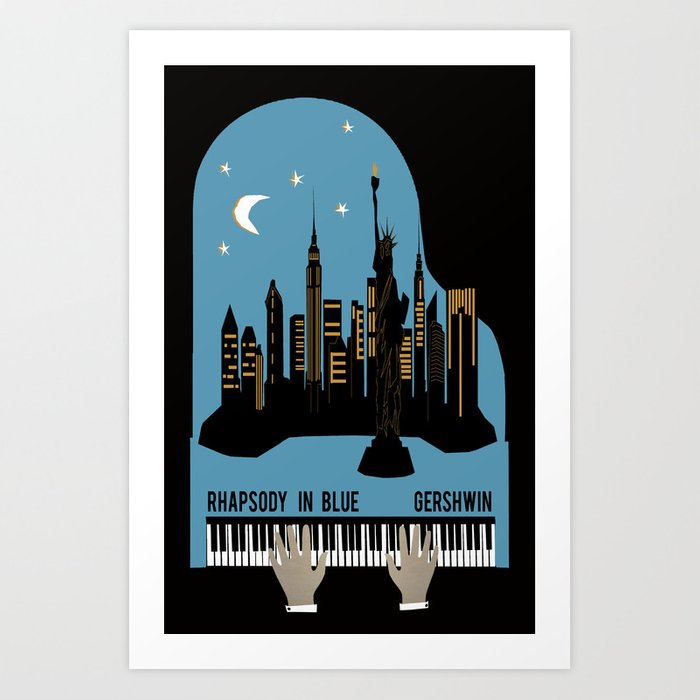 Rhapsody In Blue Gershwin Art Print By Andrealauren