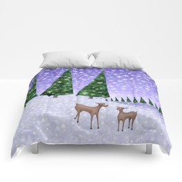 deer in the winter woods Comforters