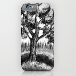 Black and white Maple Tree in Charcoal iPhone Case