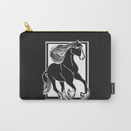 Black and White Shire Horse Art Carry-All Pouch
