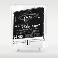 taco Shower Curtains featuring TACO SMELL by A C U L T