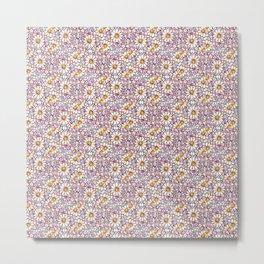 Blush Daisies and Berries Tiled Pattern Metal Print