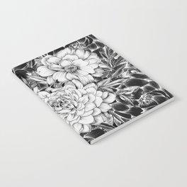 Dahlias & Peonies Black Notebook