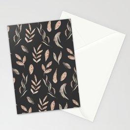 Elegant rose gold pink dark gray autumn leaves pattern Stationery Cards