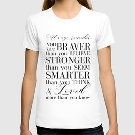 Inspirational Quote Winnie The Pooh Quote Print Typography Print Quote You Are The Braver Than You.. T-shirt
