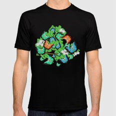 Butterflies on a branch with spring flowers Mens Fitted Tee MEDIUM Black