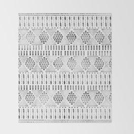 Aztec I Pattern Black and White Throw Blanket