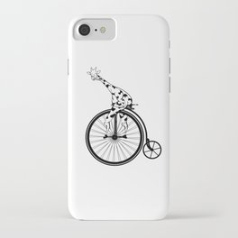 Giraffe Riding A Penny-Farthing Bicycle iPhone Case