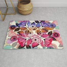 Pink and indigo flower pattern Rug
