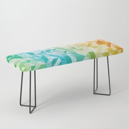 Colorful Geometric Pattern Saturated Rainbow Pattern Design (Red Pink Orange Yellow Green Blue) Bench