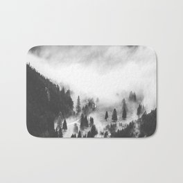Modern Minimalist Landscape Photo Foggy Mountain Valley Pine Trees Black And White Photo Bath Mat