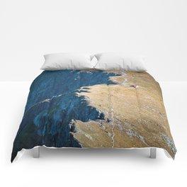 Yellow blue land Comforters
