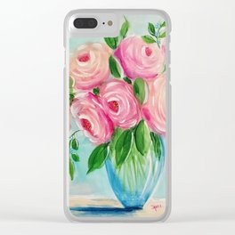 Mid-Century Modern Roses Clear iPhone Case